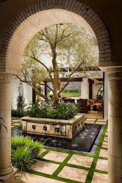 This is just too lovely for words. Courtyard water feature with olive tree and landscaping. Fireplace and seating: Ideas, Outdoor Living, Tree, Water Features, Patio, Coast Architects, Garden, Courtyards