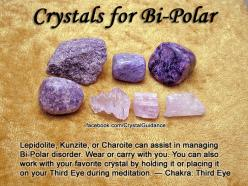 Top Recommended Crystals: Lepidolite, Kunzite, or Charoite.  Additional Crystal Recommendations: Larimar or Peridot.  Bi-Polarism is associated with the Third Eye chakra.: Crystals Stones, Crystals Gems Minerals Stones, Bipolar, Bi Polar Disorder, Crystal