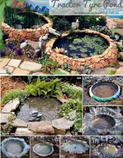 Tractor Tyre Pond: Water Feature, Tractor Tyre, Garden Ideas, Tractors, Outdoor, Tire Pond, Tractor Tire, Fish Ponds