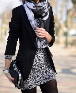 TRENDS IN BLAZERS- WOMEN'S FASHION 2013: Fashion, Leopard Print, Style, Dress, Outfit, Animal Prints, Scarf, Fall Winter, Black Blazers