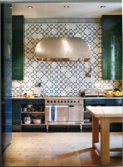 Unique blue and green kitchen with eye catching oven vent. By Lars Bolander: Kitchens, Interior, Idea, Color, Kitchen Backsplash, Green Kitchen, Design, Kitchen Tiles