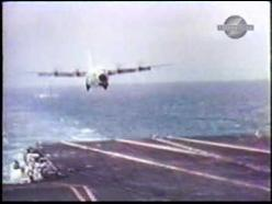 Video--check it out!  The C-130 Hercules holds the record for the largest and heaviest aircraft to land on an aircraft carrier. In October and November 1963, a USMC KC-130F (BuNo 149798), bailed to the US Naval Air Test Center, made 21 unarrested landings