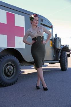 Vintage Military Vehicle Show by Atomic Age Pictures: Military Pinups, Pinup Photoshoot, Clothes Style, Arpa Pinup S, Ambulance Vintage, Pinup Style, Nurse Pinup, Pin Up, Halloween Ideas
