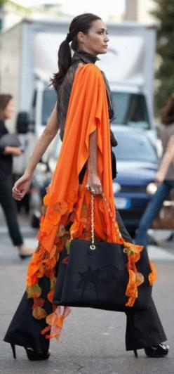 Walk it like you own it...Confident doesn't mean you're cocky.  http://ShoppingDubLi.com: Orange, Fashion, Clothes, Outfit, Casual, Street Styles, Scarf, Black