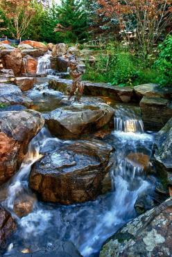 Waterfall created by Atlantis Water Gardens. #WaterfallWednesday: Outdoor Landscaping, Water Feature, Swimming Pools, River Rocks, Rock Pools, Koi Ponds, Landscape Ideas, Water Garden