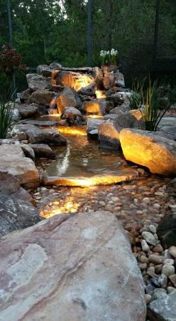 Waterfall created by Pondtastic Water Gardens in Orlando, FL. #WaterfallWednesday: Water Feature, Pondscape, Waterfallwednesday, Water Garden