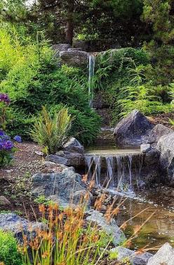 Waterfall created by The Pond Outlet in Los Angeles, CA. #WaterfallWednesday: Garden Waterfall, Rustic Gardens, Backyard Waterfall, Water Gardens, Water Features, Garden Ponds, Rustic Landscape Yard