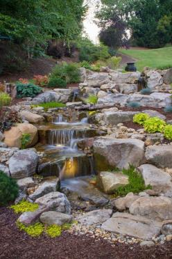 Waterfall created by the #PondStars on #NatGeoWild. #WaterfallWednesday: Garden Waterfall, Water Feature, Message, Sloping Backyard, Atlanta Landscape, Fountain, Backyard Pondless Waterfall, Pondless Waterfalls, Landscape Concepts