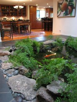 We WILL have an indoor koi pond in the new house! would definitely help with low humidity in the winter: Pond Ideas, Water Gardens, Water Features, Koi Ponds, Dream House, Aquarium, Fish Ponds, Indoor Koi
