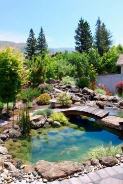 What a relaxing setup for a backyard, complete with flowers, stream of water, a pond with koi fish and your own wooden bridge: Idea, Water Features, Dream, Koi Ponds, Outdoor, Gardens, Bridge, Landscape