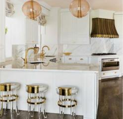 White kitchen with gold and blush accents. What do you think - too girly or totally chic? #kitchen #design: Interior Design, Kitchens, Ideas, White Kitchen, Kemble Interiors, Interiordesign, Bar Stools, Gold Accents