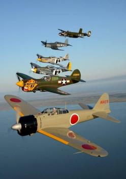 WWII era aircraft - Japanese Zero, P-40, two P-51 Mustangs, Corsair, and a B-25. All part of the Texas Flying Legends collection.: Ww2 Planes, Aviation, Mustang, Fighter Planes, Wwii Planes, Posts, Airplanes Helicopters, Planes Aircraft