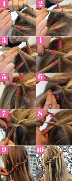 12 Super Cute DIY Christmas Hairstyles for All Lengths: Hair Ideas, Hairstyles, Waterfalls, Braid Tutorials, Hair Styles, Hair Tutorial, Waterfall Braids, Waterfall Braid Tutorial