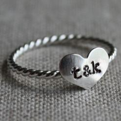 $25: Couples Initials, True Love, Sterling Silver, Rings, Love Ring
