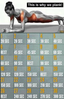 30 Day Plank Challenge - Benefits of Plank Exercise: *It strengthens your lower back. *It develops your core muscles – which include the abs, back, hips and the butt. *Helps you to avoid injuries and encourage good posture. *Can be done anywhere. *Develop