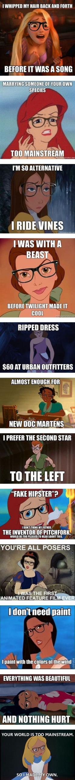"""Hipster Disney Memes"" by bananafrog ❤ liked on Polyvore: Disney Hipster Memes, Hipster Princess, Disney Memes Humor, Bananafrog, Hipster Disney Princess, Disney Funny Memes, Disney Memes Funny, Disney Characters, Disney Princess Memes"