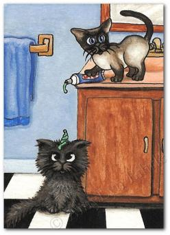 """* * """" I didn'ts knowz it would glom outta de tube."""": Cats Humor, Kitten, Siamese Cats, Cats Living, Art Prints, Cats Illustrations, Cat Tricky, Tricky Toothpaste"""
