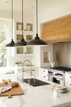 5 kitchen island dreams: Stove Hood, Idea, Lighting, Pendant Lights, Wood Hood, Kitchen Islands, White Kitchens