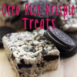 6 cups Rice Krispie cereal 	 	 20 Regular Oreos, crushed 	 	 5 cups mini marshmallows 	 	 3 tablespoons butter 	 	 2 cups white chocolate for drizzle: Recipe, Sweet, Oreo Rice, Food, Rice Krispies, Rice Krispie Treats, Dessert, Krispy Treat