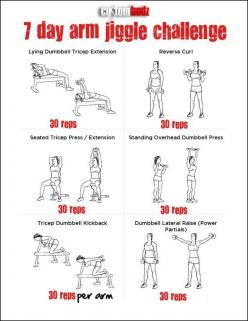 7 Day Arm Jiggle Challenge- Because I always blank on what moves to do and forget something.: Fitness Arm, Arm Challenge, Arm Workout, Jiggle Challenge, Armworkout, Work Out, Arm Jiggle, Arm Exercise, Workout Arm