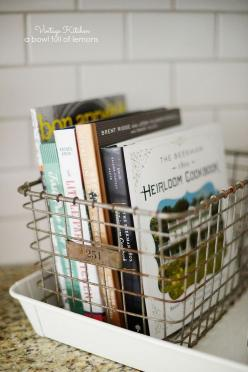 Add a vintage touch to your kitchen by tucking some of your favorite cookbooks into an antique basket for display. Via A Bowl Full of Lemons: Cookbook, Locker Basket, Vintage Kitchen, Vintage Touch