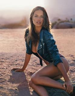 Adriana Lima | Vintage leather jacket and metallic blue bikini bottom by Versace. Photo: Steven Klein [GQ.com]: Sexy, Adriana Lima, Beauty, Adrianalima, Photo