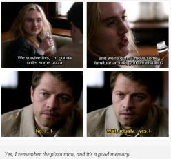 And this is as sweet as SPN gets. Brought a tear to me eye it did.: Team Castiel, Castiel Mishacollins, Supernatural Fandom, Supernatural Megstiel, Ship Megstiel, Favorite Ships, Unicorn, Sweet Supernatural, Supernatural Sherlock Fandoms