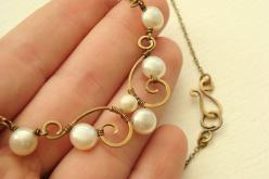 Antiqued brass scroll necklace with white freshwater button pearls - wire wrapped delicate spiral design - nice: Antiqued Brass, Delicate Spiral, Freshwater Button, Wrapped Delicate, Button Pearls