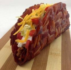 Bacon Taco everyone needs to eat one of these once in their life's: Tacos, Food, Recipes, Bacon Weave, Yummy, Bacontaco, Bacon Taco Shells