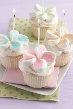 Beautiful cupcakes with marshmallow flowers!! These would be great for a birthday, Mother's Day, baby shower, bridal shower... the list goes on!: Happy Birthday Cupcake, Pretty Birthday Cupcake, Birthday Cupcakes Decoration, Baby Cupcake, Birthday Cup