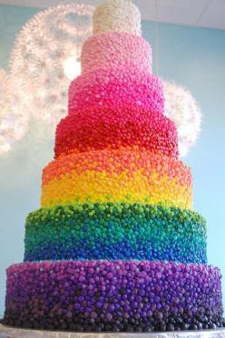 Beautiful, fabulous.  I think it is indeed hand-piped   Rainbow gradient cake!!: Idea, Color, Rainbow Cakes, Food, Rainbows, Wedding Cakes, Birthday Cake, Weddingcake
