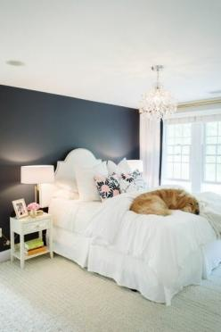 Beauty and the pup: http://www.stylemepretty.com/living/2015/02/09/21-of-the-prettiest-bedrooms-in-the-world/: Navy Wall, Wall Color, Prettiest Bedroom, Master Bedroom, Dark Wall, Black Wall, Bedroom Ideas, Accent Wall