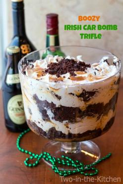 Boozy Irish Car Bomb Trifle  Two in the Kitchen v: Trifles, Bomb Trifle, Boozy Irish, Trifle Recipe, Irish Trifle