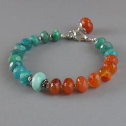 Carnelian Amazonite Peruvian Opal Sterling Silver Bead Bracelet Green Orange Gemstone: Sterling Silver, Beads, Opals, Gemstone Beaded Bracelets, Amazonite Peruvian
