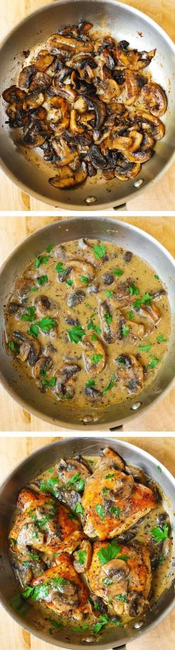Chicken and Mushrooms with a Creamy Herb Sauce - moist and tender chicken thighs with crispy skin! #BHG #sponsored: Chicken Sauce, Chicken With Mushroom, Creamy Chicken And Mushroom, Chicken Thighs Recipe, Healthy Meat Dish, Chicken Thighs Mushroom