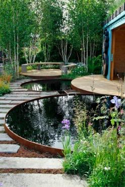 Circles water garden ....so lovely! Now if one is starting from scratch ...this would be worth the effort ... and if done the 'natural' way with proper balance of fish and vegetation growing in the small pools (see info on 'natural pool dreams