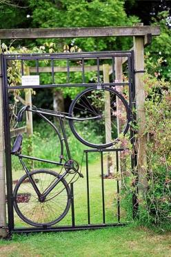 ☼ Closed Doors, Open Windows ☼: Doors, Ideas, Bicycles, Bike Gate, Bicycle Gate, Garden Gates, Outdoor, Gardens