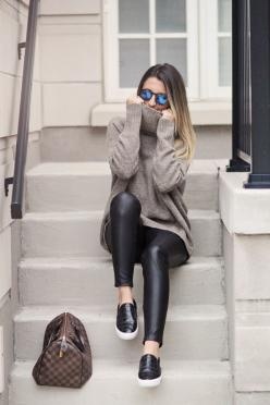 cozy, casual, comfortable. Shop the fall fashion at Trendslove. http://www.trendslove.com/: Street Style, Winter Fashion, Fall Fashion, Turtleneck Outfit, Christmas Gift, Fall Winter, Leather Pants Outfit, Leather Leggings Outfit
