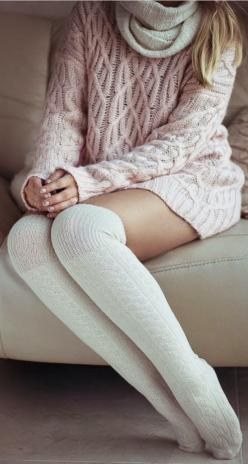 Cozy Knit Knee High Socks: Sweater, Fashion Style, Fashionista, Fashion Outfits, Clothes, Dress, Socks, Fall Winter Outfits