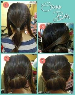 Cross bun. Should have learned this when my hair was actually long enough.: Hair Ideas, Hairstyles, Hairdos, Hair Styles, Updos, Hair Do, Crossbun