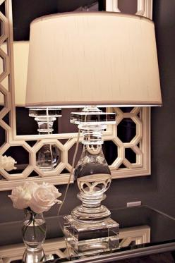 Crystal lamp from Z Gallerie and mirror from Ballard Designs: Bathroom Mirrors, Mirrors Behind Lamps, Interior, Bathroom Mirror Frames, Decoration, Master Bedrooms, Crystal Lamps, Ballard Designs, Lighting Lamps