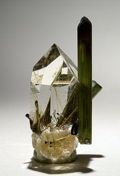Crystal of Rutilated Quartz and Green Tourmaline: Green Tourmaline, Crystals, Gemstone, Quartz Crystal, Mineral, Rock, Rutilated Quartz, Minas