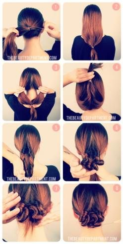 cute way to pull your hair up off your shoulders during a hot, hot heatwave! a topsy-tail looped through so many times that it starts to coil.: Hair Ideas, Hairstyles, Hair Styles, Long Hair, Makeup, Low Bun, Beauty