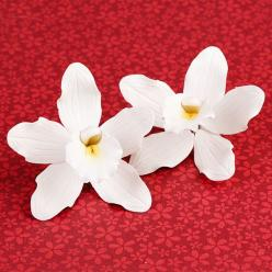 Cymbidium Orchids in White are gumpaste sugarflower cake decorations perfect as cake toppers for cake decorating fondant cakes and wedding cakes. | CaljavaOnline.com: Decorations Perfect, Sugarflower Cake, Gumpaste Sugarflower, Cake Decorations, Wedding C