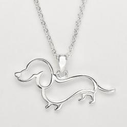 Dachshund or doxie necklace captures the adorable doxie silhouette outline silver tone lobster claw clasp: Plates, Pendants, Openwork Dachshund, Doxie, Wiener Dogs, Plate Openwork