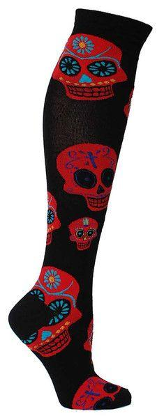 Day of the Dead Black and Red Skull Knee high socks. Black knee high length socks with large red Dia de los Muertos skulls. Fits women's shoe size 5-10.: Big Muertos, Muertos Knee, Length Socks, Sugar Skull, Skulls Dead, Knee Highs, Knee High Socks, B
