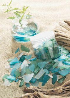 Decorative Sea Glass - $10.50 - Endless decorative possibilities here with sea glass in shades of blue - green - white - pieces wary in size - sprinkle the glass in your shellscapes - with candles - use in crafts - jewelry making: Beachglass, Decorative S
