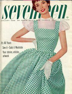 Delores Hawkins, a fifties singer, rocked this green gingham dress on our January 1955 cover.: 234 Photos, Vintage Dress, Vintage Seventeen, Seventeen Magazine, 1955 Seventeen, 1955 Vintage, 1950S Fashion