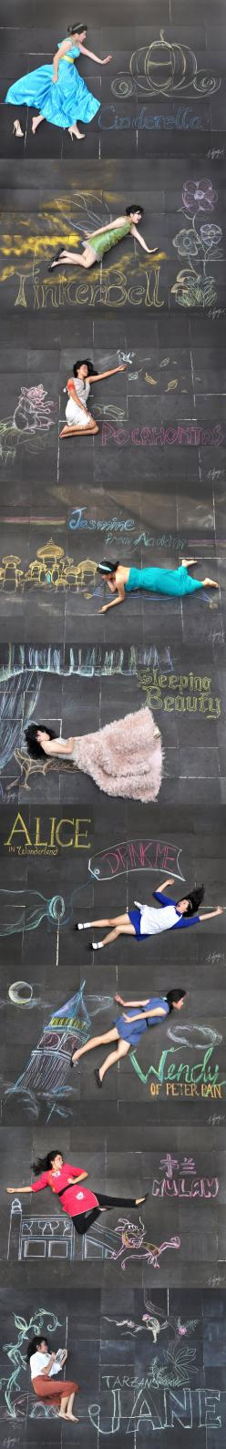 Disney Ladies Chalk Photography  This is the coolest thing I've ever seen. Currently bowing down to the girl who made this.: Disney Princess Drawings, Disney Princesses, Disney Drawings Princess, Disney Princess Photography, Chalk Photography, Things