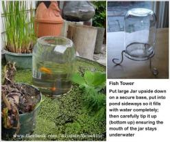 DIY fish tower for your outdoor pond. Cute addition to a water feature in the garden or yard.: Pond Ideas, Ponds, Garden Ideas, Yard, Water Features, Outdoor, Fish Tower, Water Garden
